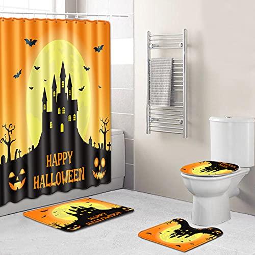 MMHJS Serie De Halloween Impreso Cortina De Ducha Impermeable Sala De Ducha Alfombrilla Antideslizante Alfombrilla De Inodoro Combinación De 4 Piezas Juego