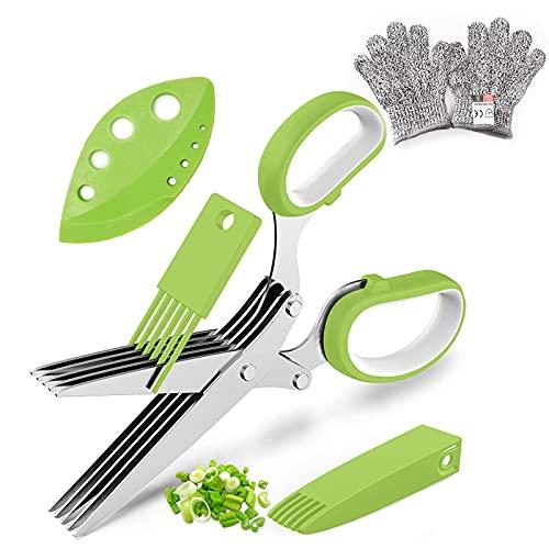 Tijeras de hierbas, 5 capas de cuchillas de acero inoxidable, cubierta con peine de limpieza y cuchilla de marcar, tijeras de cocina multifuncionales(+ Guantes resistentes a cortes 1 par) (verde)