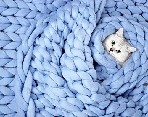 TONINI Chunky Knit Coperta ingombranti Gettare Lana Merino Hand Made Letto Divano Gettare Animali Poltrona Letto Mat Tappeto, (Color : Blue, Size : 39'×39')