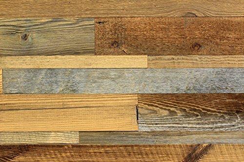 wodewa Wandverkleidung aus Holz Altholz sonnenverbrannt 1m² Echtholz Wandpaneele Holzwand - 5
