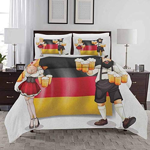 German Duvet Cover Set King Size German Flag with Man and Woman in Traditional Clothes European Culture Illustration Duvet Cover Set Printed Decorative 3 Piece Bedding Set with 2 Pillow Shams