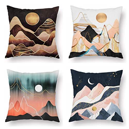 4 piezas geométricas de montaña picos sol luna creativa funda de cojín sofá oficina asiento coche almohada decorativa sala de estar decoración del hogar 45 x 45