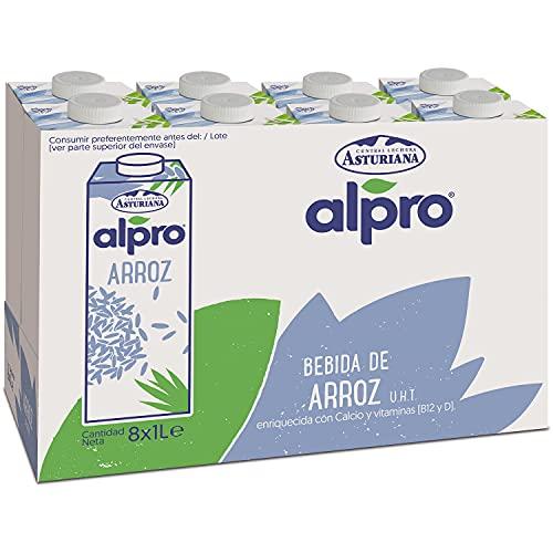 Alpro Central Lechera Asturiana Alpro - Bebida De Arroz, 100% Vegetal, Rica En Proteínas, Apta Para Veganos, Pack De 8 Briks De 1 Litro, 8 Litros 8000 ml