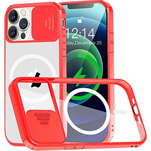 Funda Transparente Compatible con iPhone 12/12 Pro 6.1' MagSafe [con Protector Cámara] [9X Fuerza Atracción magnética] Carcasa Magnética Silicona Antigolpes Anti-Arañazos Parachoques de TPU Rojo