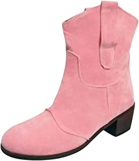 Kauneus Womens Vintage Suede Roman Boots Chunky Low Heel Round Toe Mid Calf Ankle Booties Solid Casual Fashion Boots