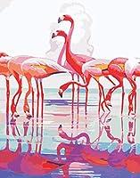 ナンバーキットでペイント DIYの油絵 大人用キッズビギナー40x 50cm(フレームなし)-水鳥