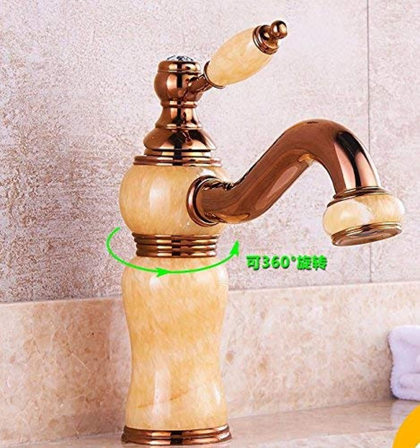 CFHJN HOME Sink Taps European retro style copper jade Wash your face Hot and cold golden