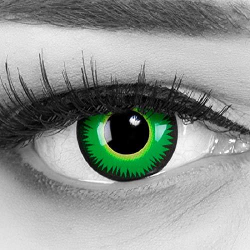 Farbige grüne Kontaktlinsen ohne Stärke crazy Kontaktlinsen crazy contact lenses Green Werewolf grün Werewolf 1 Paar perfekt zu Fasching, Halloween und Karneval. Mit gratis Linsenbehälter!