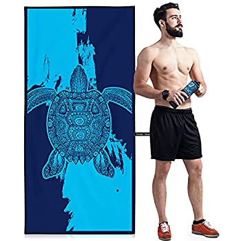 OCOOPA Microfiber Beach Towel – Extra Large XL  34 x71   Quick Dry Soft Lightweight Compact Sand Free Towel - Perfect for Camping Travel Beach Swimming - Turtle