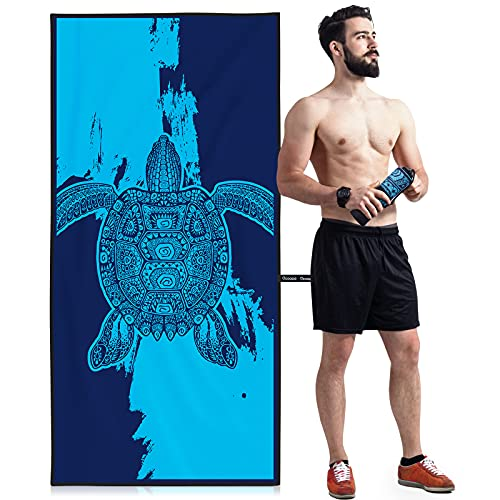 OCOOPA Microfiber Beach Towel – Extra Large, XL (34'x71') Quick Dry Soft Lightweight Compact Sand Free Towel - Perfect for Camping, Travel, Beach, Swimming - Turtle