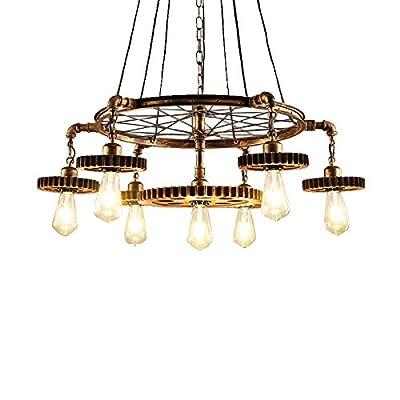JinYuZe 7 Lights Industrial Ceiling Pendant Light,Retro Loft Metal Large Chandelier Pendant Lighting,Antique Brass