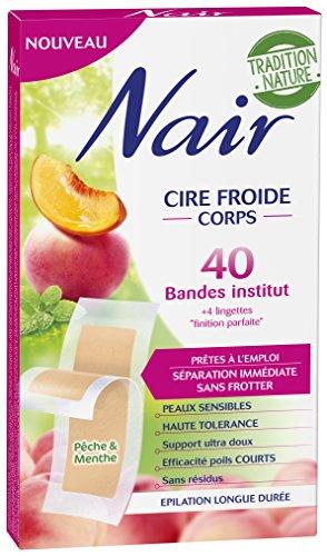 Nair - 40 Bandes de Cire Froide - Corps - Prêtes à l'emploi - Peaux sensibles - Efficacité poils courts - Pêche & Menthe
