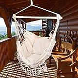 Poltrona sospesa Amaca sedia girevole da appendere, comoda in tela, per interni ed esterni, camera da letto, giardino, con due cuscini