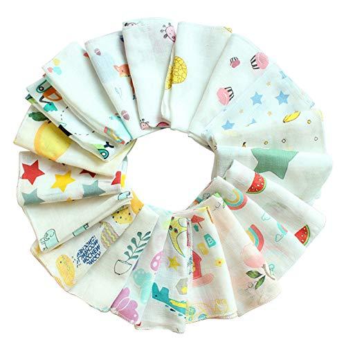Baberos baberos para bebé de 30 x 30 cm, 10 unidades por paquete de toallitas de muselina para recién nacidos