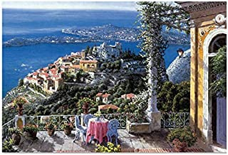 PARATOS Romantic 1000 Piece European Style Villa Sea Island Landscape Aerial View Wooden Jigsaw Puzzles for Home Photo Frame Wall Decoration, Finish Size 30x20 inches