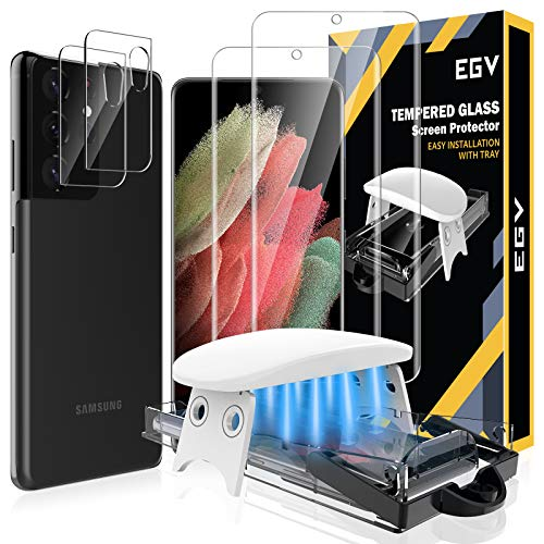 4 Pack EGV 2pcs Tempered Glass Screen Protector and 2pcs Camera Lens Protector Compatible with Samsung Galaxy S21 Ultra 6.8-inch, Easy Installation Tool, Fingerprint Unlock Compatible