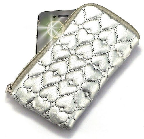'Miss' Luxurious Padded Wallet / Holder with Carrying Strap with 'Dreamer' no. 10009 Gliter Phone Charm for Acer beTouch E200 . Unique Zipped Pouch / Case / Skin / Holster for Mobile Phone and Credit Cards - Silver .