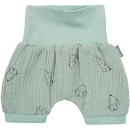 "Lilakind"" Baby Kinder Shorts Sommerhose Kurze Hose Musselin Elefanten Mint Gr. 74/80 - Made in Germany"