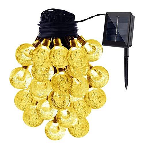 DXIA Guirnaldas Luces Exterior Solares, 6.5M 30 LED Cadena de Bola Cristal Luz Impermeable 8 Modos, IP66 Impermeable, Luces Decoración para Jardín, Casa, Bodas, Jardine (Blanco Cálido)