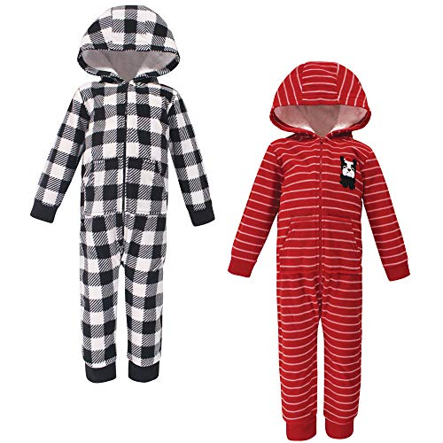Hudson Baby Unisex Fleece Jumpsuits, Coveralls, and Playsuits, Christmas Dog Toddler, 4 Toddler