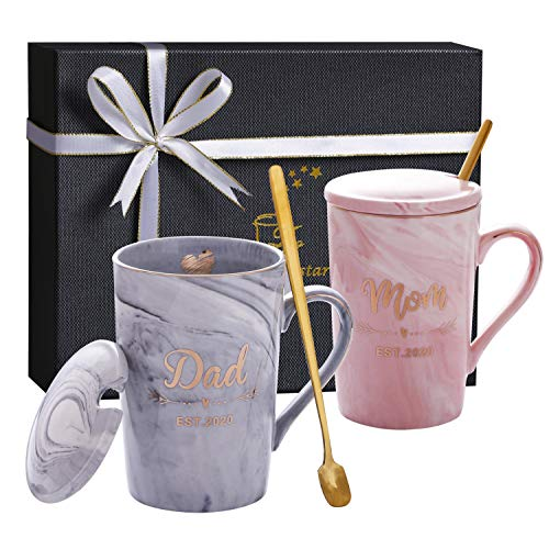 Jumway New Mom Gifts - Mom and Dad Est 2020 Mugs - New parents Gifts Mugs for Parents to be - Pregnancy Gifts - Baby Shower Gifts for Pregnancy Announcement - Marble Ceramic Cup 14 oz