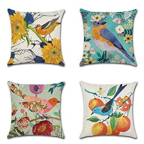 JOTOM Kissenbezug 45 x 45 cm Kissenhülle Frühling Taille Wurf Sofa Kissen Bezug Dekokissen für Zuhause Couch Schlafzimmer Outdoor Deko 4er Set (Bunter Vogel)