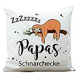 """Wandtattoo-Loft ® Bedrucktes Kissen """"Papas Schnarchecke"""" mit niedlichem Faultier am"""