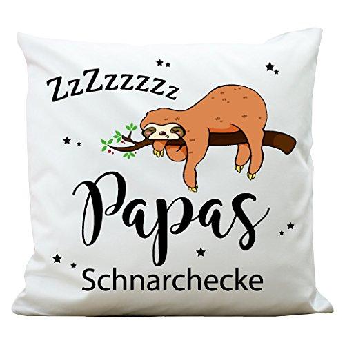 Wandtattoo-Loft Bedrucktes Kissen Papas Schnarchecke mit niedlichem Faultier am AST - Aus 100% Polyester 40 x 40 cm - Mit Füllung