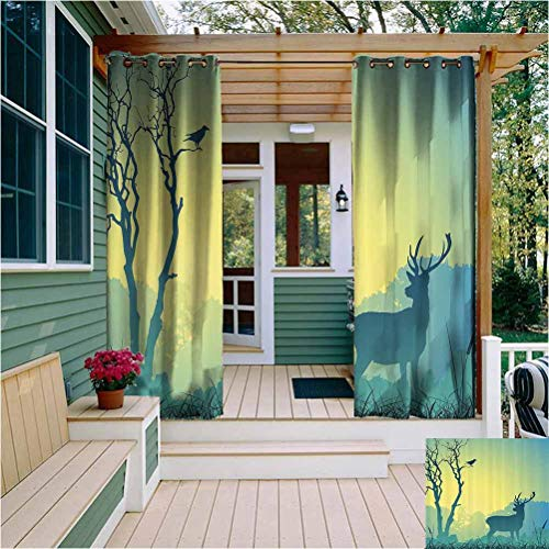 Antlers Decor Collection Outdoor Privacy Curtain for Pergola Wild Animal Deerfield Meadow Grassland Tree Morning Time Park Landscape Image Patten Soundproof Shade Olive White W84 x L84 Inch