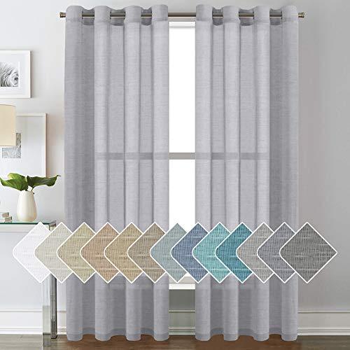 H.VERSAILTEX Linen Curtains Nickel Grommet Natural Linen Semi-Sheer Curtains 2 Panels, Privacy Added Premium Soft Rich Material Drapes for Bedroom/Livingroom/Sliding Door - 52x84 - Inch - Dove