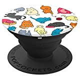 Cute Funny Cats Colorful Pattern - PopSockets Grip and Stand for Phones and Tablets
