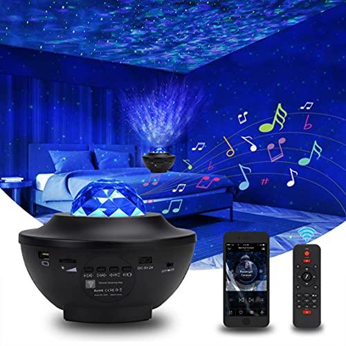 Sternenhimmel Projektor, Galaxy Star Lamp, Starry Night Light mit Bluetooth Timer Fernbedienung Musikspieler, Rotierende Wasserwellen Led licht Lampe ,Für Kinder Erwachsene Zimmer Dekoration