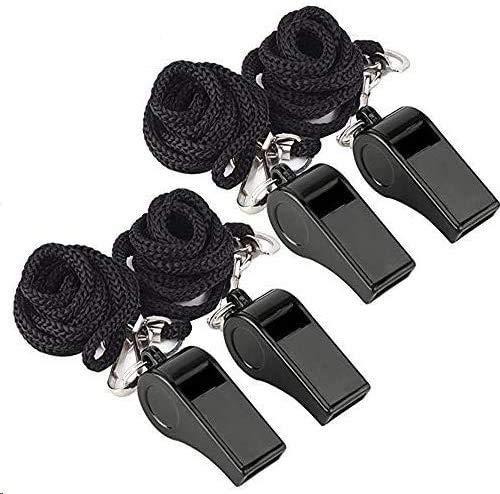 Homo Trends Silbato con cordón, 4 silbatos de plástico negro para deportes escolares, fútbol, fútbol, baloncesto, salvavidas, entrenador árbitro deportivo partido y supervivencia de emergencia