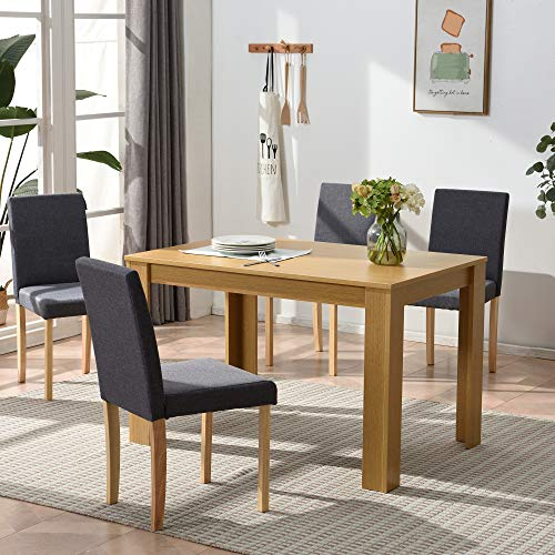 Cherry Tree Furniture 5-Piece Dining Room Set 4-Seater Dining Table with 4 Chairs, Oak Colour Table with Grey Fabric Seats