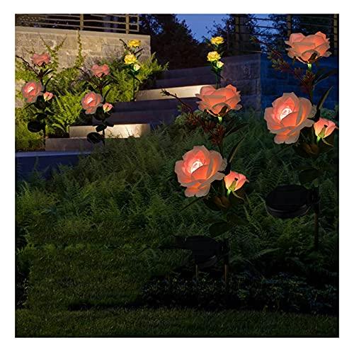 Fiore Solare Luces De Flores Solares Al Aire Libre, Césped Fácil De Montar Decoración De Luces De Pila De Flores, para Fiestas Navideñas(Color:Rojo)