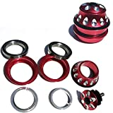 Free-fly 1-1/8' Heavy Duty Headset Top Cap Bearings, Built-in Bearings Integrated, 44mm Threadless Stem Tapered Sealed BMX Bearing Nuts (Red)