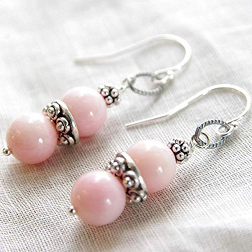 Pink Coral Earrings Sterling Silver Bead Drop 35th Wedding Anniversary