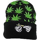 Marijuana/Weed/Leaf Cuff Beanie-Hat Skully - Knit Winter Hat Women Men Green