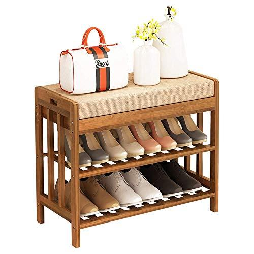 YAeele Bastidores de Zapatos Zapatero Puerta de Entrada con Asiento Acolchado - 2 estantes Banco de Almacenamiento, Brown Ahorro de Espacio Fácil Ensamble (Color: Marrón, tamaño: 60 * 30 * 50 cm)