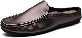 Yajie-Shoes, Slip On Loafers Mens Summer Casual Mules Slipper for Men Clogs Backless Black Gold Loafers Slip On Microfiber Leather Handmade Sewing Stitching Fashionable