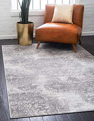 Unique Loom Sofia Collection Traditional Vintage Area Rug, 8' x 10', Light Gray/Ivory