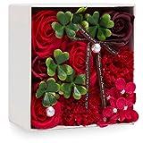 母の日 ソープフラワー 創意方形ギフトボックス 誕生日 記念日 父の日 先生の日 バレンタインデー 昇進 転居など最適としてのプレゼント (レッド-2)