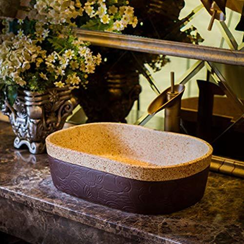 GEEN BAND Retro Art Keramische diepe container Ovaal Handgemaakte slijtvaste wastafel, 59CM*40CM*15CM 1219