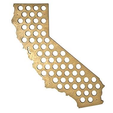 All 50 State Beer Cap Maps - California Beer Cap Map CA - Glossy Wood - Skyline Workshop