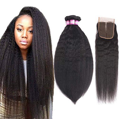 "Brazilian Kinky Straight Human Hair Bundles with Closure (18"" 20"" 22"" + 16"",Middle Part) Yaki Human Hair Weave Unprocessed Brazilian Virgin Human Hair Natural Color"