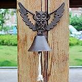 ZHTY Doorbell Front Bell Idyllic Owl Cast Iron Wrought Iron Doorbell Hand Crank Doorbell European Retro Garden Decoration Wall Decoration Doorstop