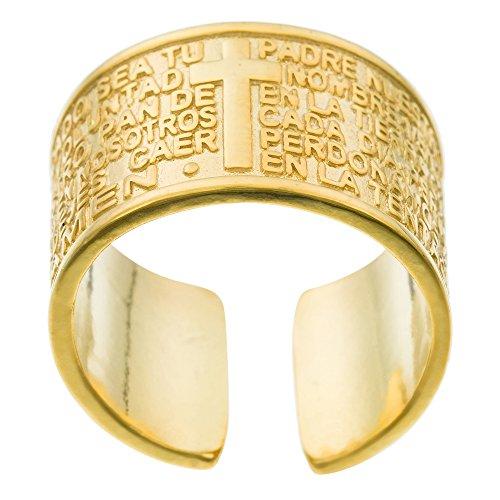 Córdoba Jewels | Anillo en Plata de Ley 925 bañada en Oro. Diseño Padre Nuestro