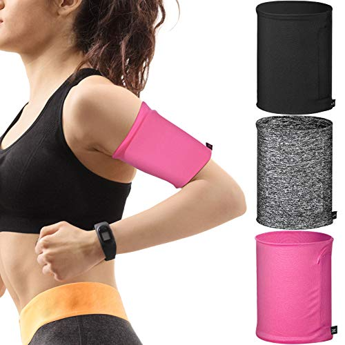 3 Pieces Phone Armband Sleeves Running Sports Armbands Phone Arm Band Holder for Running Walking Jogging Hiking Cycling (Black, Gray, Pink, M)