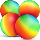 Bedwina Rainbow Playground Balls - 8.5Inch (Pack of 4) Rubber Bouncy Inflatable Balls for Kids and Adults, Indoor and Outdoor Games, Kickballs, Dodgeball, Four Square, Dodge Ball, Handball