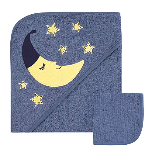 Hudson Baby Print Woven Hooded Towel and Washcloth, Narwhal, One Siz